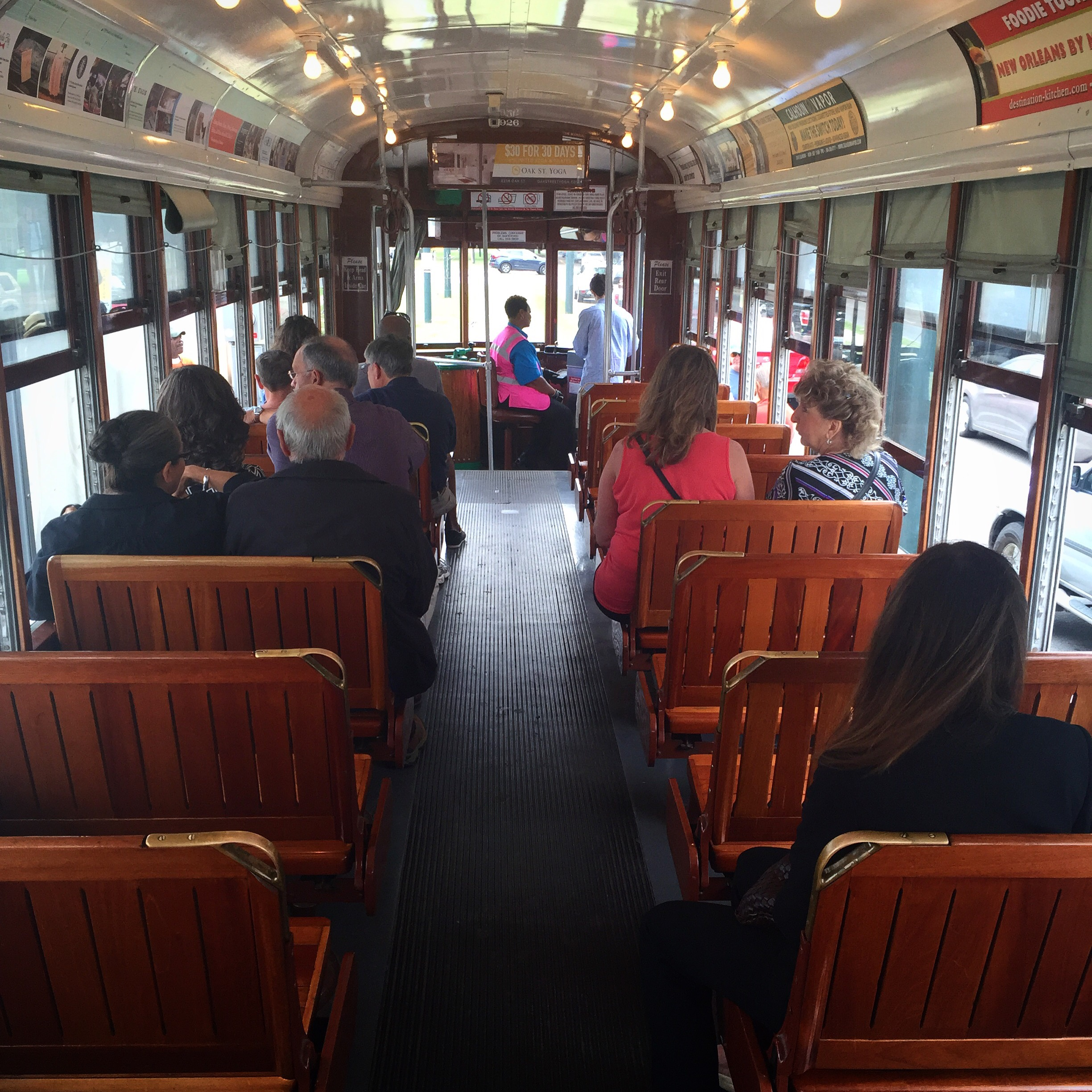 picture of the inside of a trolley car