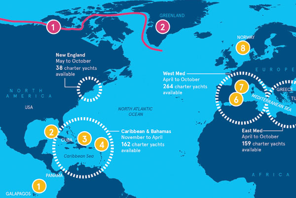 ShowBoats Charter Around the World infographic